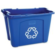 Rubbermaid Commercial Products FG571473BLUE Stackable Recycling Bin, 14 Gallon, Blue
