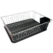 MegaChef 16 Inch Chrome Plated and Plastic Counter Top Drying Dish Rack in Black
