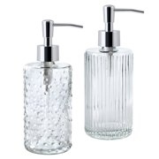Allure Home Retro Chic Mix and Match 2Pc Textured Glass Lotion Pump Set