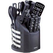 Farberware 17-Piece Never Needs Sharpening Carousel Knife and Tool Set in Black