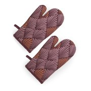 Art Deco Fan 2 Piece Oven Mitt Set, Regal Rose by Drew Barrymore Flower Home