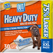 OUT! Heavy Duty XXL Dog Pads, Absorbent Pet Training and Puppy Pads, 30 Pads, 26 x 30 Inches