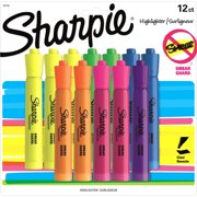 Sharpie Tank Style Highlighters, Chisel Tip, Assorted Fluorescent, 12 Count